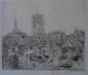Gezicht op Brielle met de St. Catharijnekerk en stadhuis (Collectie Historisch Museum Den Briel; inv nr 4520)
